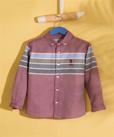 KIRMIZI Panolu Regular Uzun Kol Gömlek