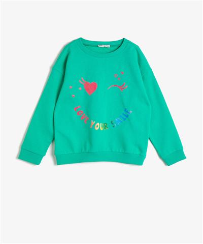 İçi Tüylü Yumuşak Baskılı Sweatshirt